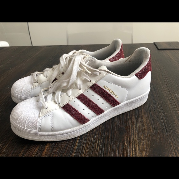 adidas superstar shoes maroon